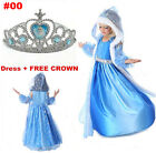 New FROZEN Princess Anna and Elsa Queen Girls Cosplay Costume Party Formal Dress