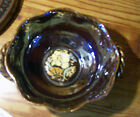 VTG. JAPAN HANDLE Brown CANDY DISH RAISED FLOWER DESIGN 5