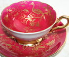 Coalport England Cairo Tea Cup and Saucer Heavy Gold Gilt Bird Insect Red Teacup