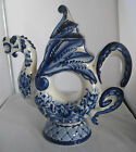 RARE USSR LARGE BLUE AND WHITE  PORCELAIN DRAGON DOUGHNUT RUSSIAN TEAPOT