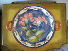 Hand Made,Hand Painted Terracotta Art Pottery Sesrving Dish, Portugal