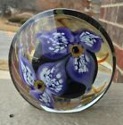 AMAZING SIGNED EICKHOLT 2000 FLORAL ART GLASS DISC PAPERWEIGHT!!