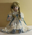 VINTAGE PORCELAIN & CLOTH DOLL WITH HAND CROCHETED DRESS, PANTIES & BOOTS