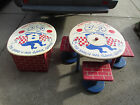 Vintage Wood Furniture Child's Table Humpty Dumpty NURSERY RHYME CHAIRS TOY BOX
