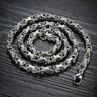 Mens Silver Tone Stainless Steel High Polish Byzantine Chian Necklace 22