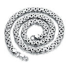 Mens Jewelry Silver Tone Stainless Steel Flat Byzantine Chian Necklace 57cm*9mm