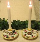 CERAMIC & CHINA UCAGCO PY JAPAN VINTAGE ROOSTER AND ROSES CANDLE HOLDERS