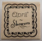 Craft Smart April Showers Doily Scalloped Frame Flowers Woodern Rubber Stamp