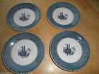 Lot 4 Old Vintage Blue Currier Ives Cup Saucer Plate Paddlewheel Boat USA Marked