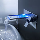 Victory Rectangular Bathroom Blue Tempered Glass Vessel Sink & Waterfall Faucet