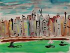 ORIGINAL CITY Landscape Self taught Naive Folk OUTSIDER Mary Carol art MCW