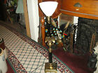 Vintage Stiffel American Eagle Table Lamp-Brass Metal-Tall-#1-White Glass Shade