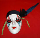 Vintage Feather/Lace/Ribbons Jester Like Mask-Clay Art-5 1/2