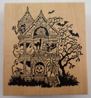 Psx Rare Haunted House With Ghosts Spooky Scary K 943 Wooden Rubber Stamp
