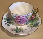 Rosina Pink and Yellow Rose Scalloped Tea Cup And Saucer w/ Excellent Gold Trim