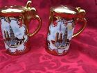 VTG Munchen Germany Salt & Pepper Shakers KITCHEN GERMAN GOLD CASTLE SHIELD