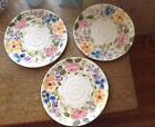 3 Tabletops Unlimited Dinner Plates Mariam's Garden Hand Painted Lot B