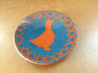 FOLTZ POTTERY Folk Art Redware Slipware Slip Dish Bowl Plate 1984 Goose on Blue