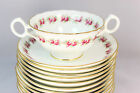 14 SETS ANTIQUE ROYAL CAULDON CHINA K4378 CREAM SOUP CUPS SAUCERS GILT PINK ROSE