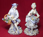 Vintage Porcelain Sitzendorf Flower Seller Couple with Double Crossed Blue Mark