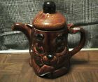 Porcelain P&K teapot made in England brown glaze 8.5 inch tall cat face
