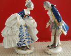 Courting Dancing Couple Dresden Lace Porcelain Figurines or CapoDiMonte Blue