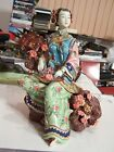 RARE HIGHLY DETAILED VINTAGE JAPANESE PORCELAIN GEISHA WOMAN FIGURINE SCULPTURE
