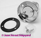 Marine Boat 1 1 2 in Fuel Gas Cap Deck Fill Plate with Screw Cap Chrome 32041