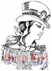 Deep Red Rubber Cling Stamp Steampunk Warrior Girl Woman