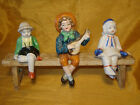 3 Antique Occupied Japan Sitting on Shelf Figurines w Wood Bench Holder / Stand