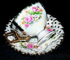Shafford Tea Cup and Saucer HPT Lace Rim Heavy Gilt Opalescent Fancy Teacup Duo
