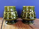 Vintage Coffee Cups Ceramic Pottery Green Dancing Poodles ? Greek ? Japan ? 2pc