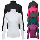 Womens Turtleneck Long Sleeve Cotton Basic Solid Fitted Shirt with Stretch SML