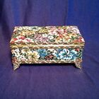 Vintage Tapestry Floral Trinket Music Box Japan Gilt Trim