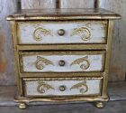Vintage Italy Florentine Wood Trinket Jewelry Box Tole Chest/Drawers Music Box