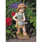 Farmer Children Childhood Planting Little Girl Watering Flowers Garden Statue