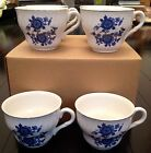 Blue Rose/Royal Blue Ironstone Enoch Wedgwood Tea Cups/Saucers - Tunstall