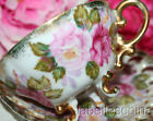 Shafford Japan Tea Cup and Saucer Heavy Gold Gilt Roses Fancy 3 Toed Teacup