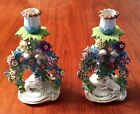 Beautiful Pair Colorful Antique French Candle Holders-Raised Flowers-Dogs-Doves
