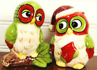 Owls in Holiday Cap with Stocking Ceramic Salt  Pepper Shakers