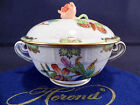 HEREND QUEEN VICTORIA ,COVERED CREME SOUP BOWL,ROSE WITH CHIPS