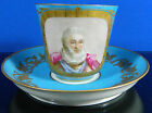 Antique Sevres Porcelain Cup & Saucer Plate Hand Painted Old Man & Flowers Gold