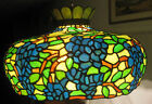 VERY LARGE STAINED GLASS 3-LIGHT VINTAGE HANGING LAMP SHADE ca. 1930s