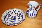 Italian Majolica Pitcher & Bowl/Water Basin Blue Rooster, Hand Painted Florence