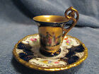 ANTIQUE COALPORT ENGLAND PORCELAIN CHINA DEMITASSE CUP & SAUCER GOLD COBALT NICE