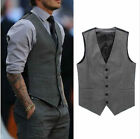 Fashion Men Formal Slim Fit Pocket Design Casual V-neck Vest Suit Coat Tops XS-L