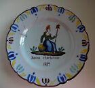 18 c - 19 c, 1800 - 1849 FRENCH FAIENCE Revolutionary Plate, Jeanne Charbonnier