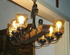 VINTAGE FRENCH CASTLE CEILING HANGING CHANDELIER 6 LIGHT AMBER GLASS SHADES