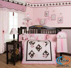 Brown Pink Butterfly 13P Baby CRIB BEDDING SET