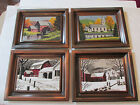 Four Coppercraft Guild framed pictures winter & fall autumn Vermont  scenes